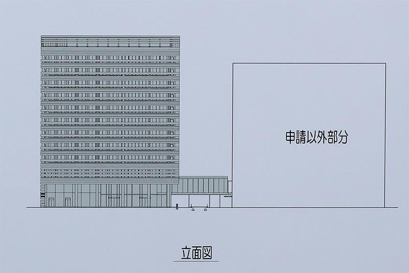 大阪研修センタIII期(NTT西日本 新本社ビル)立面図