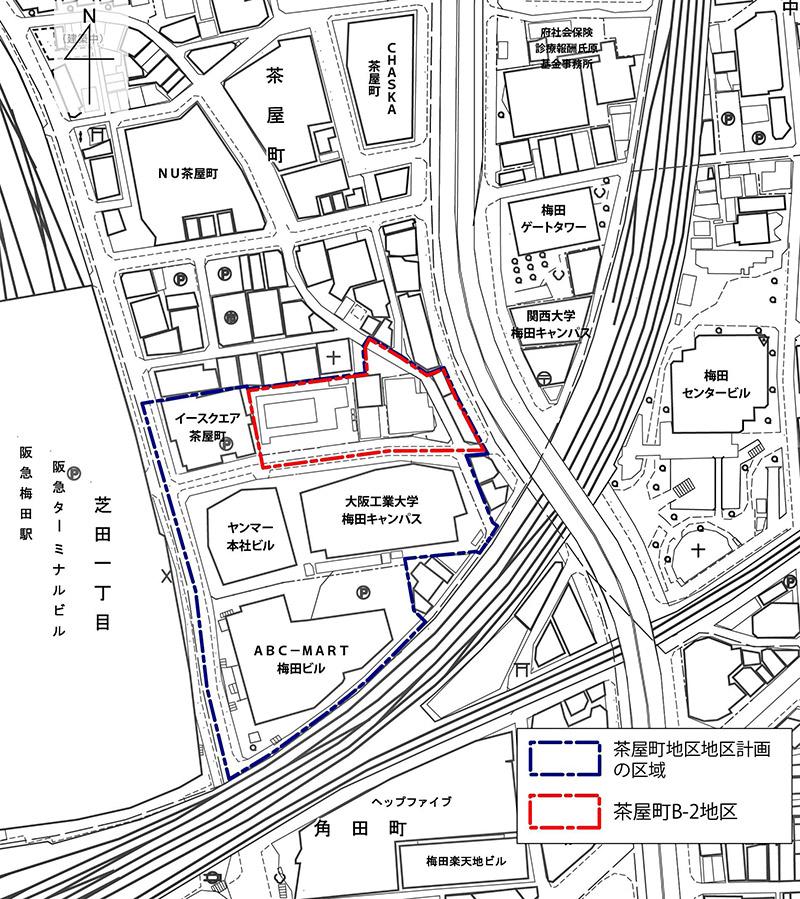 東急不動産 茶屋町B-2地区市街地再開発事業 位置図