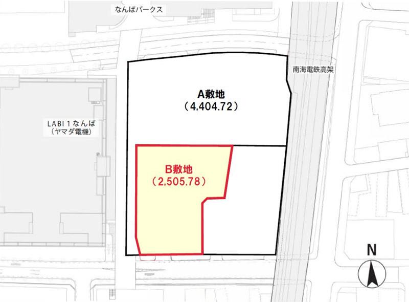 (仮称)難波中二丁目開発計画 B敷地計画 位置図