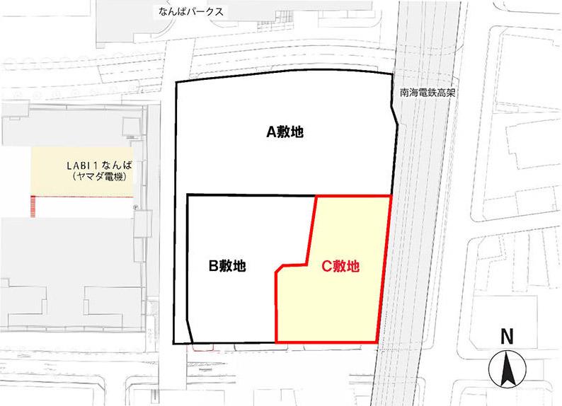 (仮称)ホテル京阪なんばグランデ(難波中二丁目開発C敷地) 位置図