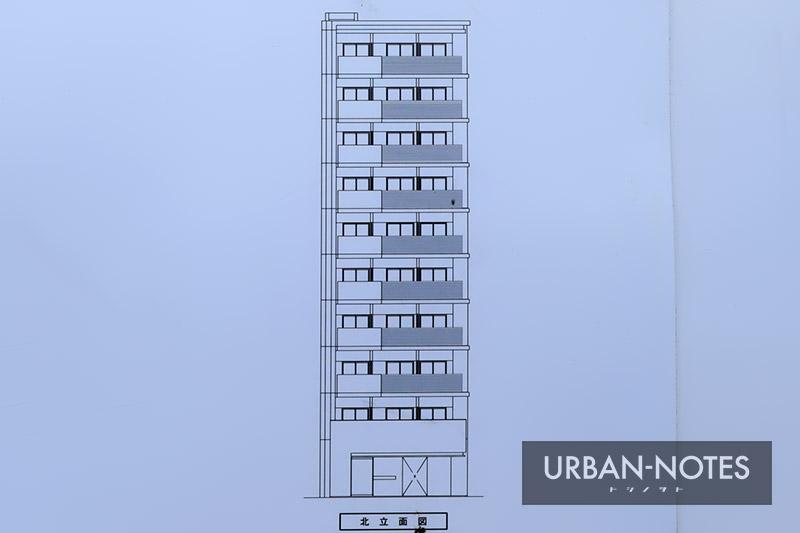 (仮称)大阪市福島区鷺洲3丁目 新築工事 立面図