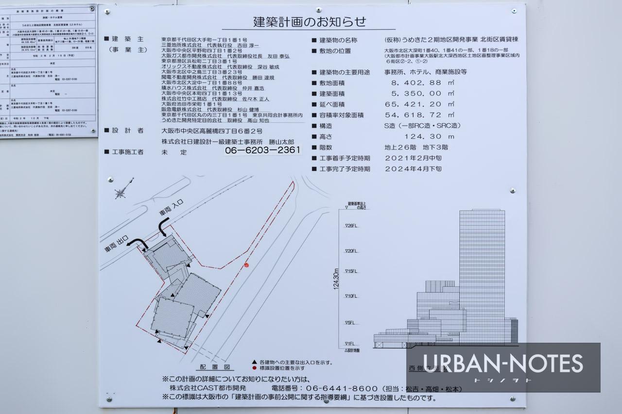 うめきた2期地区開発事業 北街区賃貸棟 建築計画のお知らせ