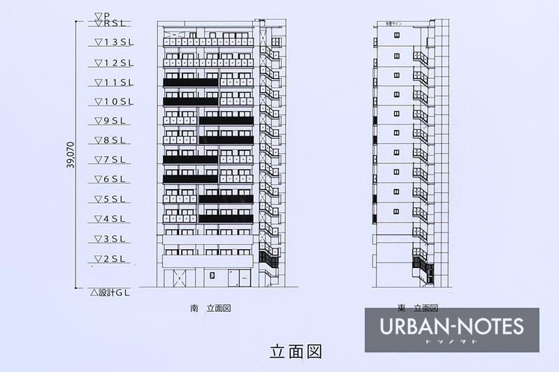 (仮称)福島区福島6丁目 新築工事 立面図