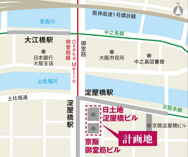 淀屋橋駅東地区都市再生事業 位置図