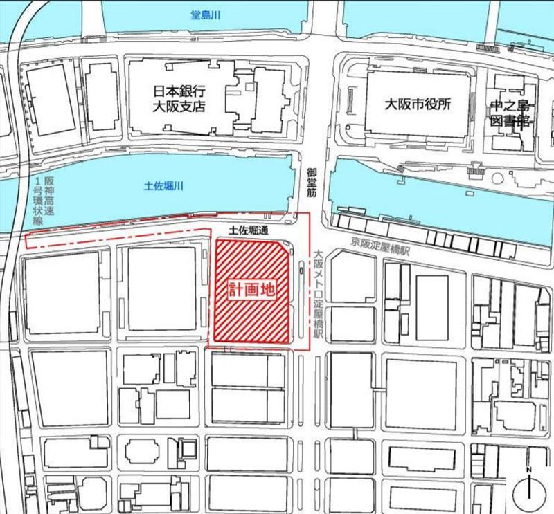 淀屋橋駅西地区第一種市街地再開発事業 位置図
