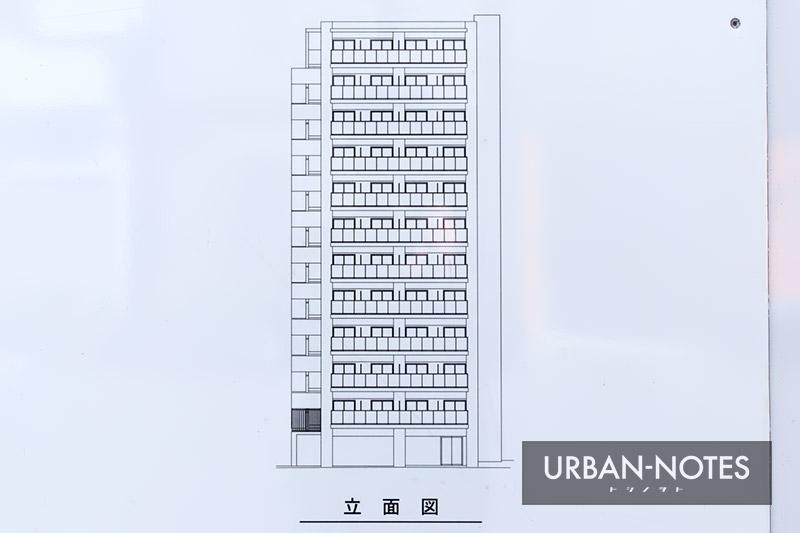 浅井建物 大阪市港区弁天4丁目新築工事 立面図