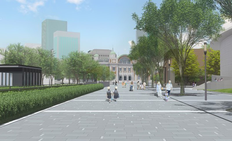 中之島通 歩行者空間化(公園化)整備 完成イメージ図