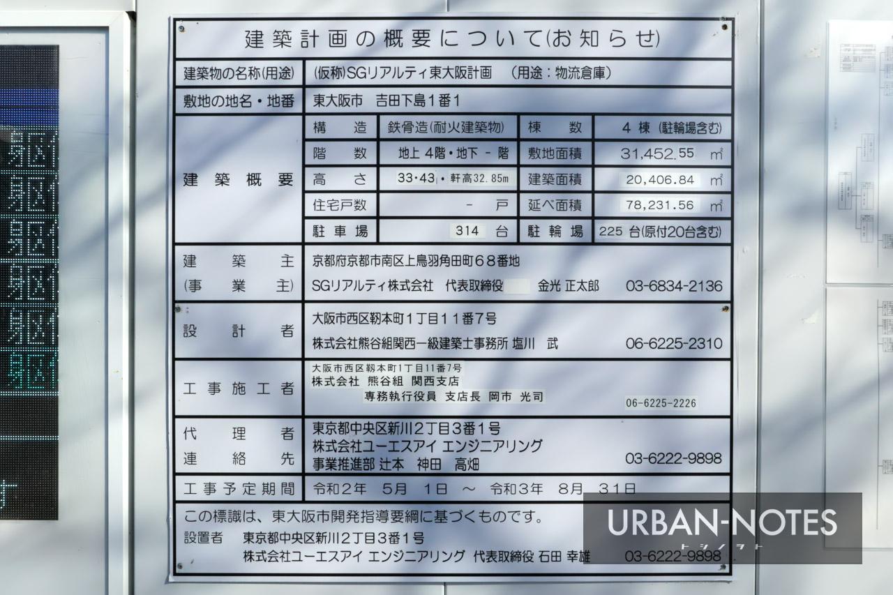(仮称)SGリアルティ東大阪計画 建築計画のお知らせ