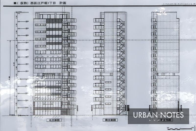ハウスギャラリー (仮称)西区江戸堀1丁目計画 立面図