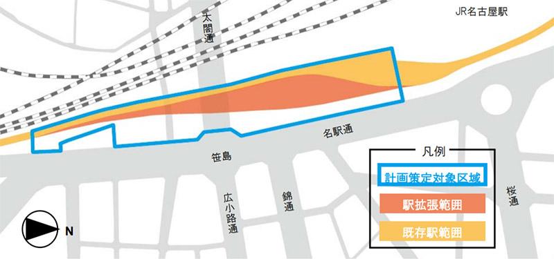 名鉄名古屋駅地区再開発 位置図