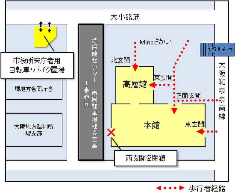 堺保健センター・市民駐車場建設外工事 位置図
