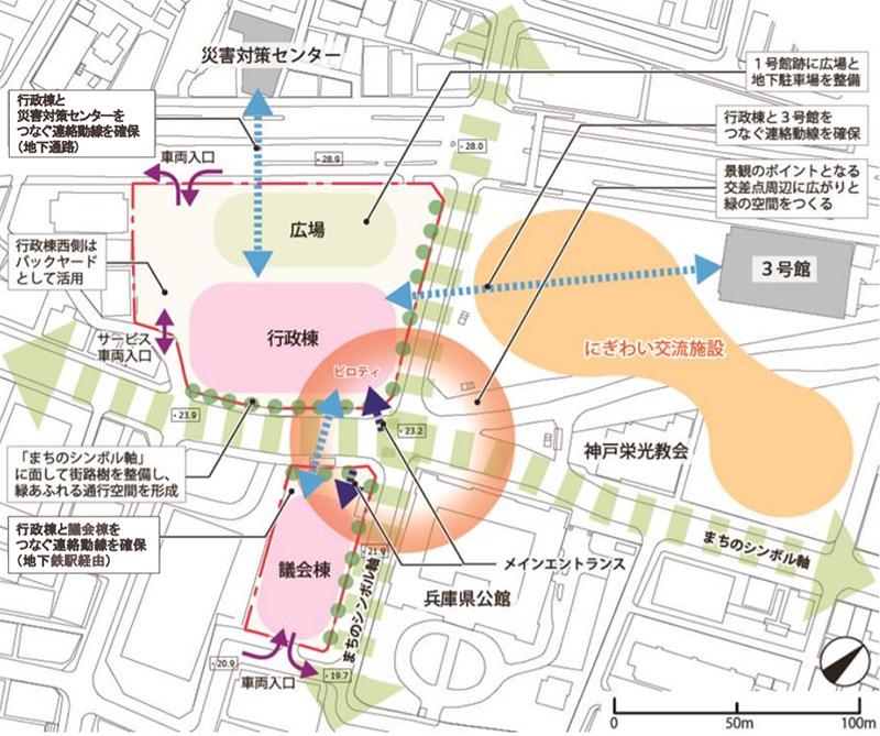 兵庫県庁舎等再整備基本計画 配置構成