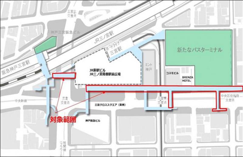 三宮駅周辺歩行者デッキ 位置図