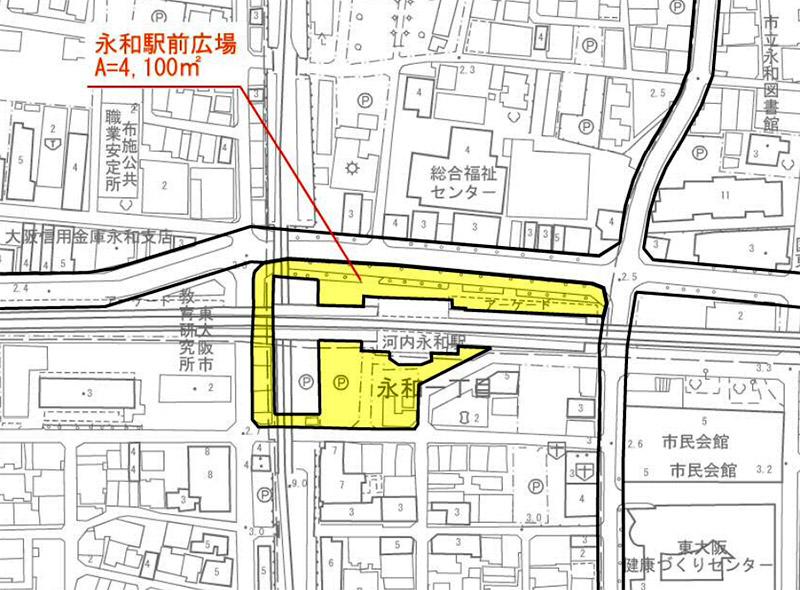 河内永和駅前交通広場 整備範囲