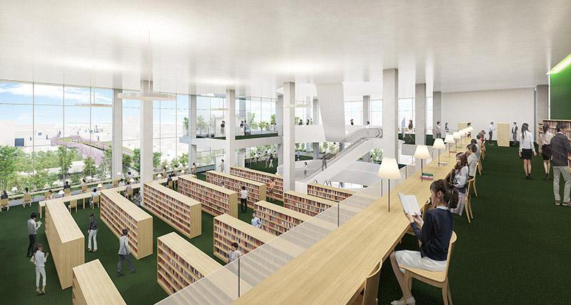 茨木市市民会館跡地エリア整備事業 図書館 完成イメージ図