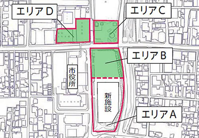 茨木市市民会館跡地エリア整備事業 位置図