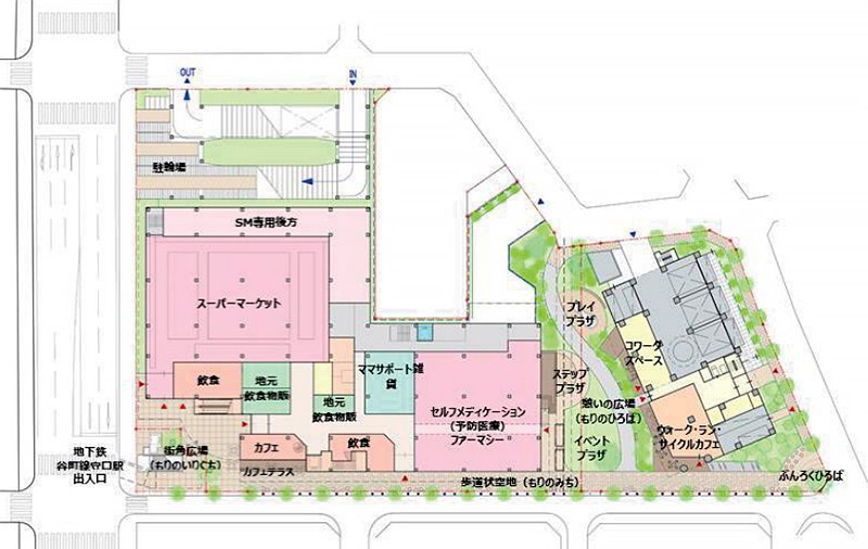 (仮称)Link City Moriguchi 守口市旧本庁舎等跡地活用事業 施設配置図
