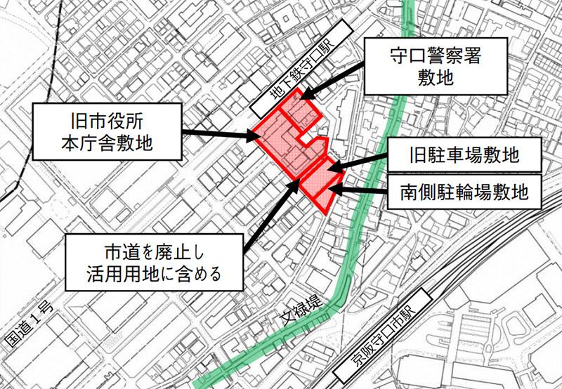 (仮称)Link City Moriguchi 守口市旧本庁舎等跡地活用事業 位置図