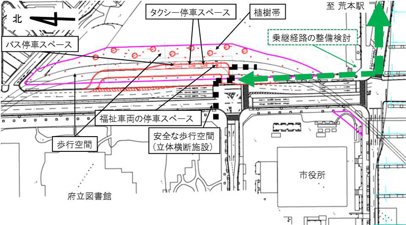 大阪モノレール延伸事業 (仮称)荒本駅 駅前交通広場 配置図