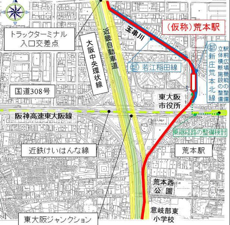 大阪モノレール延伸事業 (仮称)荒本駅 ルート図