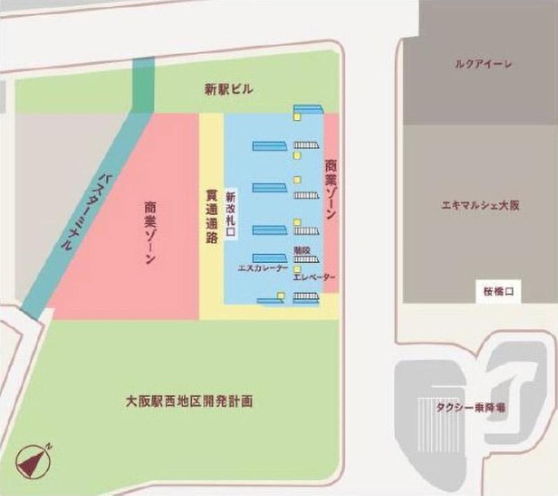 大阪駅西高架エリア開発 新駅ビル 1F平面イメージ