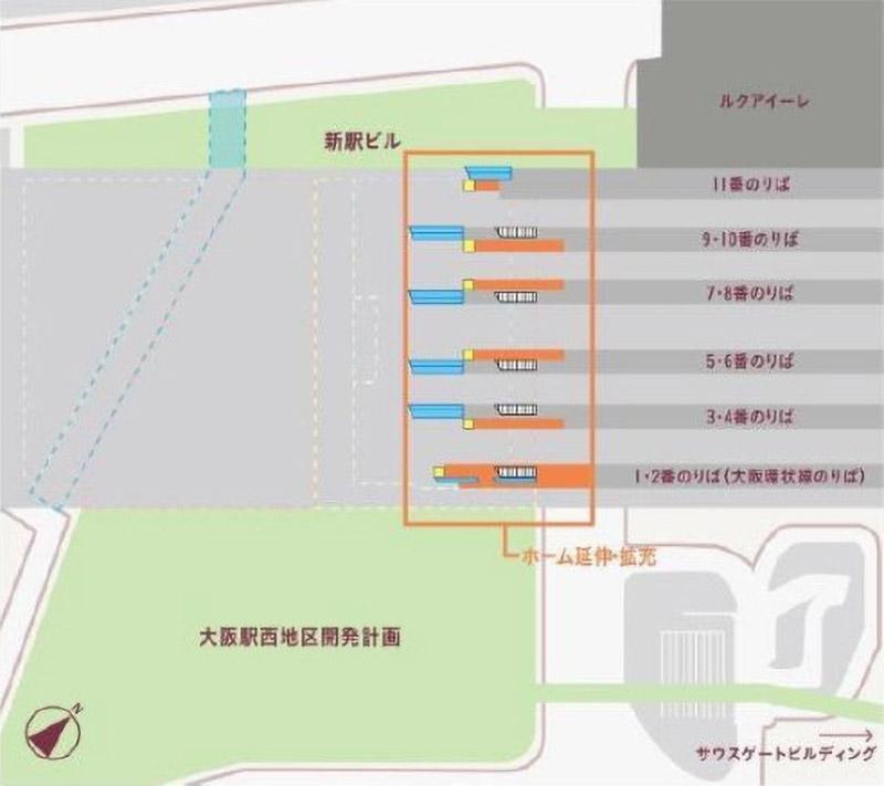 大阪駅西高架エリア開発 新駅ビル 2F平面イメージ
