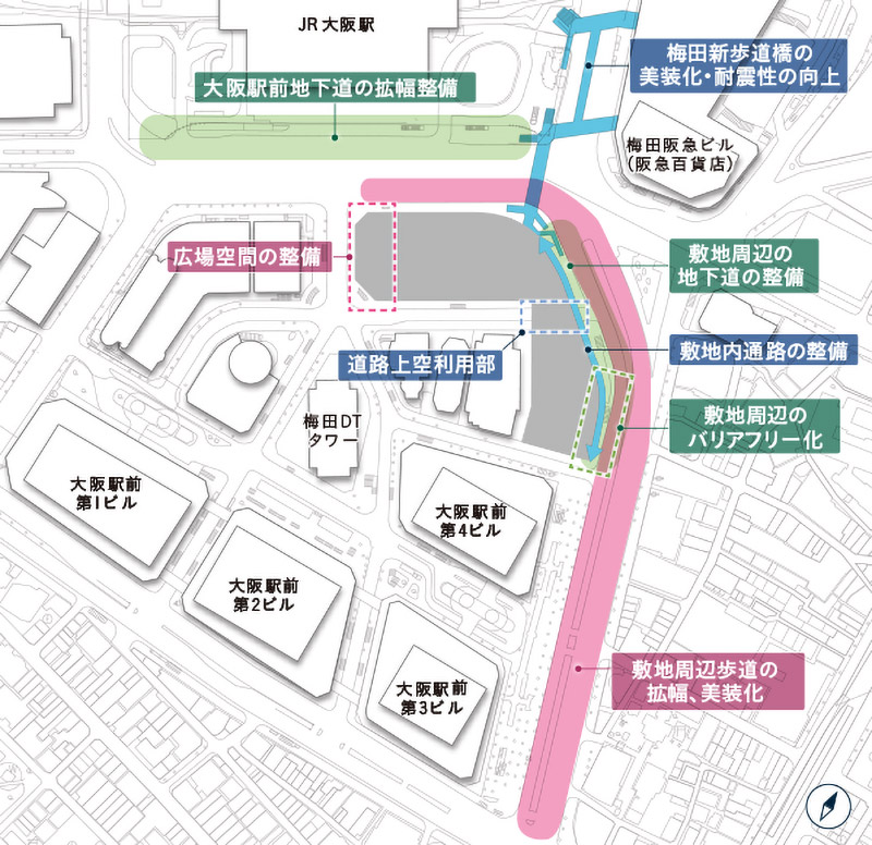 大阪梅田ツインタワーズ・サウス(梅田1丁目1番地計画)周辺図