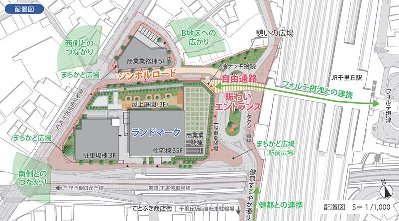 千里丘駅西地区市街地再開発事業 配置図