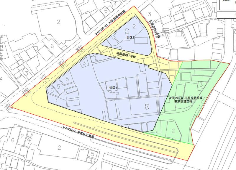 千里丘駅西地区市街地再開発事業 計画図