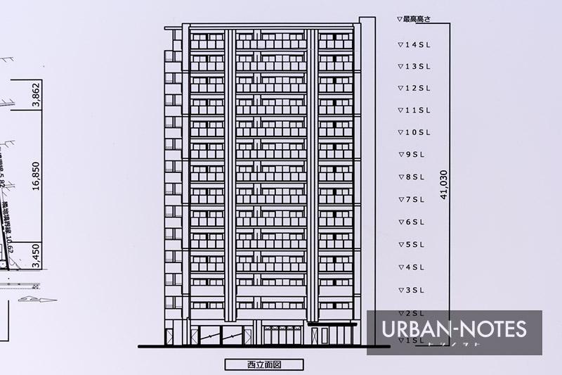 (仮称)大阪市西区西本町計画 新築工事 立面図