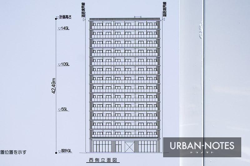(仮称)西区京町堀3丁目53計画 立面図