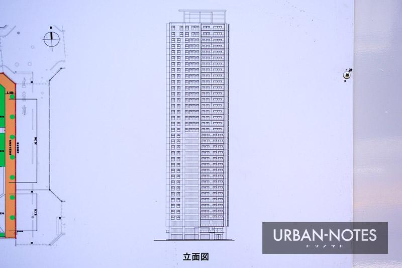 (仮称)大阪市西区新町3丁目西敷地タワー計画 立面図