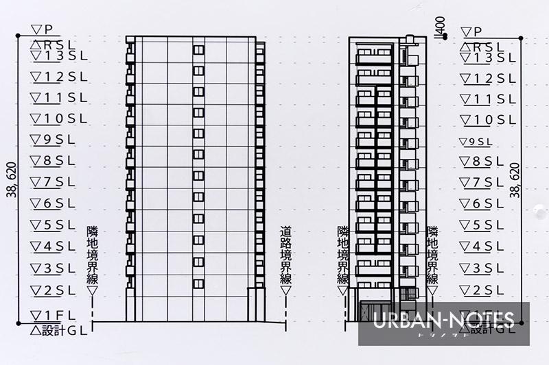 (仮称)プレサンス中央区船越町二丁目 新築工事 立面図